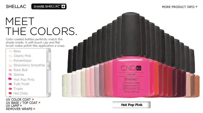 All your Shellac colour options, with my fave at the front!