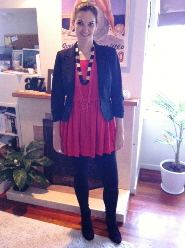 Tunic + ponte pants + blazer = awesome winter outfit